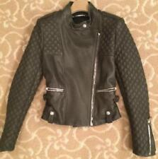 Barbara Bui Leather Biker Jacket Forest Green Size 36