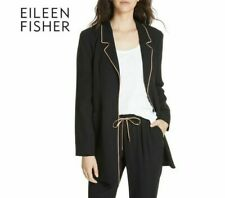 Eileen Fisher Long Piped Trim Silk Casual Blazer Black Size PP/ XS/ US 2-4 $598