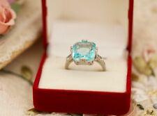 Vintage Jewellery Ring Aquamarine White Sapphires Antique Deco Jewelry Size R1/2