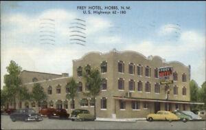 Hobbs NM Frey Hotel HWY 62 & 180 Linen Postcard