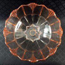 Vintage Trifle Bowl Art Deco Pink Glass Serving Dish 1930s