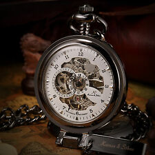 KS Skeleton Half Hunter Black Self-Stand Case Mechanical Pocket Chian Watch Gift