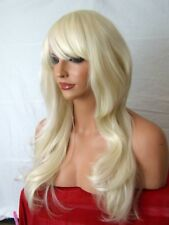 bleach blonde women ladies adult fashion party real natural wavy curly wig D5