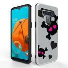 For LG K51,LG Reflect Tough Hybrid Phone Shockproof  Case Pink Skull
