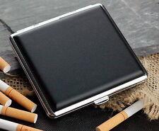 Black Leather Cigarette Case Box Hold For 20 Cigarettes 300Bb