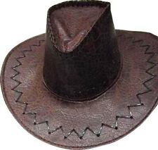 Chapeau Cow Boy MARRON DEGUISEMENT WESTERN LUXE CROCO SIMILI CUIR SHERIF