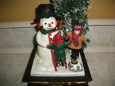 Christmas Holiday Lighted Musical Snowman Tree Winter Fun Boys with Snowballs