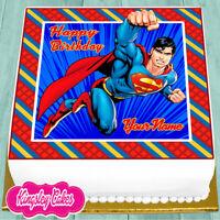 SUPERMAN PERSONALISED BIRTHDAY 7.5 INCH PRECUT EDIBLE CAKE TOPPER J512K