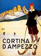 TRAVEL TOURISM WINTER SPORT CORTINA ALPINE RESORT SKI SNOW ITALY PRINT LV4318