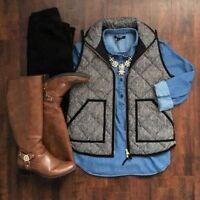 Women's Herringbone Quilted Puffer Winter Vest Crew Excursion Vest