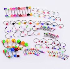 Labret Tongue Tragus Barbells 14G 16G 18G Lot 100Pcs Mix Piercing Kit Belly Ring