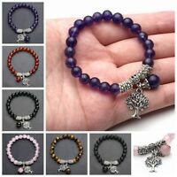 Lucky Gemstone Silvery Alloy Hollow Tree of Life Charm Bead Cuff Bangle Bracelet