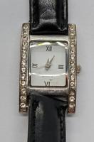 Vintage Ladies Women's Watch Black Leather Band Rhinestones