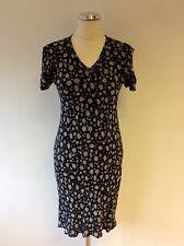 JIGSAW DARK BLUE FLORAL PRINT SHORT SLEEVE TEA DRESS SIZE 1 UK 8/10