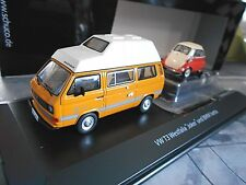 Set VW VOLKSWAGEN t3 BUS Westfalia Camper + BMW Isetta AUTO RIMORCHIO SCHUCO 1:43