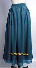 Sexy Elegant Double Chiffon Pleated Long Maxi Dress Skirt Women Lady Beach Girl
