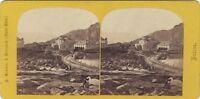 Suisse st. Gotthard L'Hospice E Hotel Prosa Foto Stereo Vintage Albumina