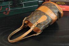 LOUIS VUITTON Rare Authentic Vintage Monogram Leather Canvas Tote Handbag Purse