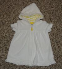 Carters Baby Girls White & Yellow Swimsuit Cover Up with Hood Size 3 Months Euc
