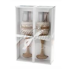 Burlap Rustic Wedding Toasting Glasses Cake Server Set Stainless Steel Gift box