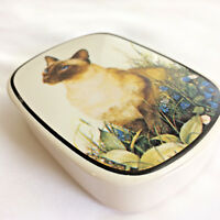 Vtg 1980 The Love Mug Porcelain Miss Jan Houston Trinket Jewelry Box Siamese Cat