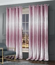 Luxury Two Tone Crushed Velvet Ombre Curtain Pair Ring Top Fully Lined Curtains
