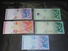 MALAYSIA  5 BANKNOTES  1 , 2 ,  5 , 10 ringgit 1996-1999  UNC  us uk