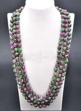 Handmade 8Mm Natural Ruby Emerald Round Gemstone Beads Necklace 100'' Long Aaa