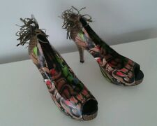 Iron Fist Bloody Tiki God Tropic Rockabilly Platform Heels Shoes Sz 9 Burlesque