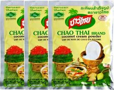 3 Packets Chao Thai Coconut Cream Powder 60g. Quick Mix for Curry or Dessert