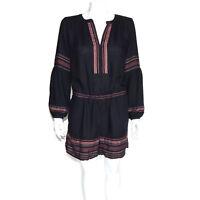 ANN TAYLOR LOFT Black Embroidered Long Sleeve Boho Romper Jumpsuit size M /8235