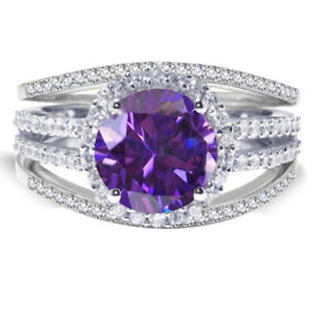 Brilliant Amethyst CZ Wedding Engagement Sterling Silver Three Ring Set 2.35 Ct