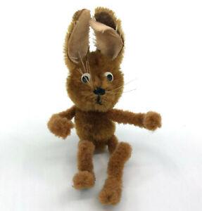 Schuco Mascot Brown Rabbit 1950s Mohair Plush on Metal Chenille Stem 8cm 3in Vtg