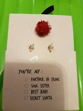 Xmas  Christmas bee stud Earrings Santa Topshop jewellery stocking fillers
