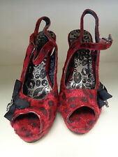 IRON FIST SHOES SIZE  7 RED WITH BLACK LEOPARD SPOTS WITH DIAMANTE    (BA)