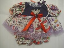"Purple purses and hat fabric dress, panties & headband 15-16"" baby dolls"