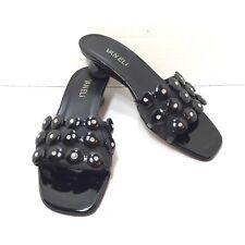 5583bf009658fc Women s VanEli Black Patent Leather Jeweled Mesh Slip On Mules Sandals SZ  6.5 M