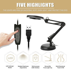 5X Magnifying Lamp LED Lighting with Clamp Hands-free Desk Lamp Magnifier UK