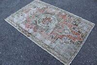 "FREE SHIPPING - Vintage Handwoven Turkish Oushak Area Rug Carpet 5'11""x3'9"""