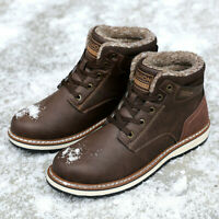 Mens Boots Winter with Fur Warm Ankle Snow Boots for Men Genuine Leather Shoes