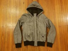 Roxy Gray Chevron Hooded Winter Coat Women's Size S