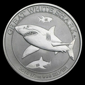 2014 1/2 oz .999 Silver Australian Great White Shark BU Coin from Mint Roll #5