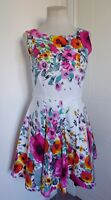 RED HERRING Floral Fit & Flare Skater Tea Dress 12 Party Summer Wedding Occasion