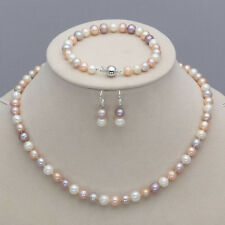 7-8mm Real Natural Freshwater Pearl Necklace Bracelet Earrings Jewelry Set