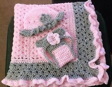 Pink / Gray Ruffle Hand Crochet Baby Blanket w/ lots of extras - FREE SHIPPING