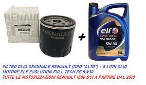 FILTRO OLIO ORIGINALE + 5 LT OLIO ELF  FULL TECH 5W30 MERCEDES RENAULT 1500 DCI