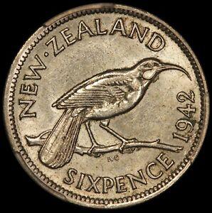 1942 New Zealand 6 Six Pence Silver Coin - PCGS AU 55 - KM# 8 - RARE Key Date