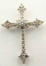 Cross Pendant Charm 1.50 Carat Ladies 14K White Gold Diamond