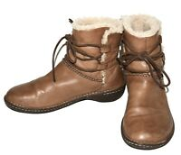 UGG AUSTRALIA 1932 Caspia Brown Leather Ankle Boot Sheepskin Lined Size 10