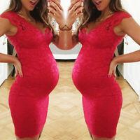 Women Maternity Pregnancy Summer Solid V Neck Lace Bodycon Vest Sleeveless Dress